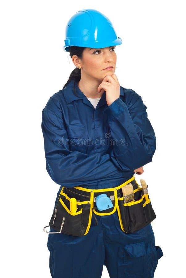 Mujer pensativa del trabajador fotos de archivo