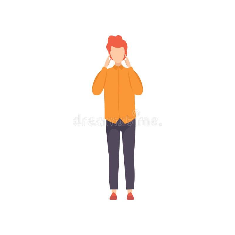 Mujer pensativa joven que piensa o que hace el ejemplo del vector de la decisión en un fondo blanco ilustración del vector