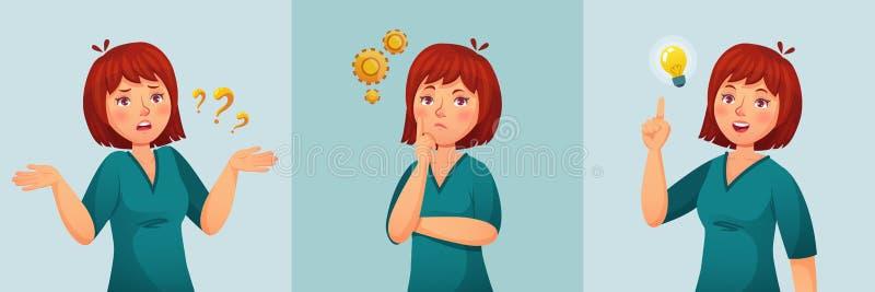 Mujer pensativa La hembra de pensamiento pide preguntas, pensamiento confuso o duda y encontró vector de ruegos y preguntas de la stock de ilustración