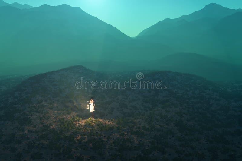 Mujer perdida en el desierto libre illustration
