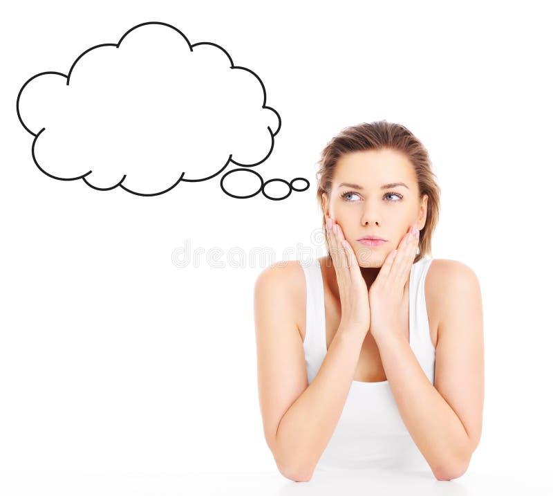 Mujer perdida en pensamientos imagen de archivo libre de regalías