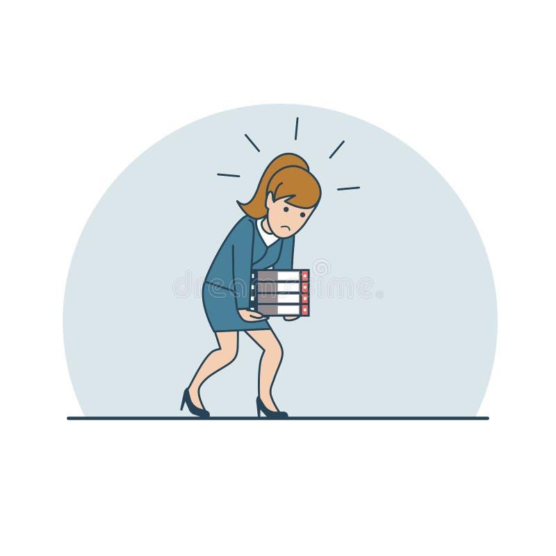 Mujer plana linear de la carga del negocio que lleva fol pesado stock de ilustración