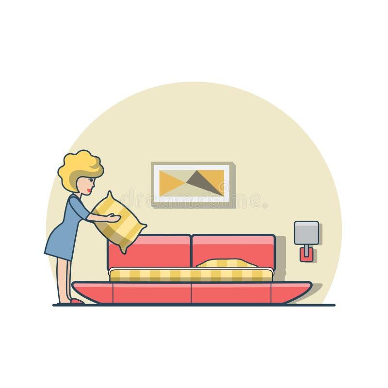 Mujer plana linear que lleva a cabo vector del dormitorio de la cama de la almohada stock de ilustración