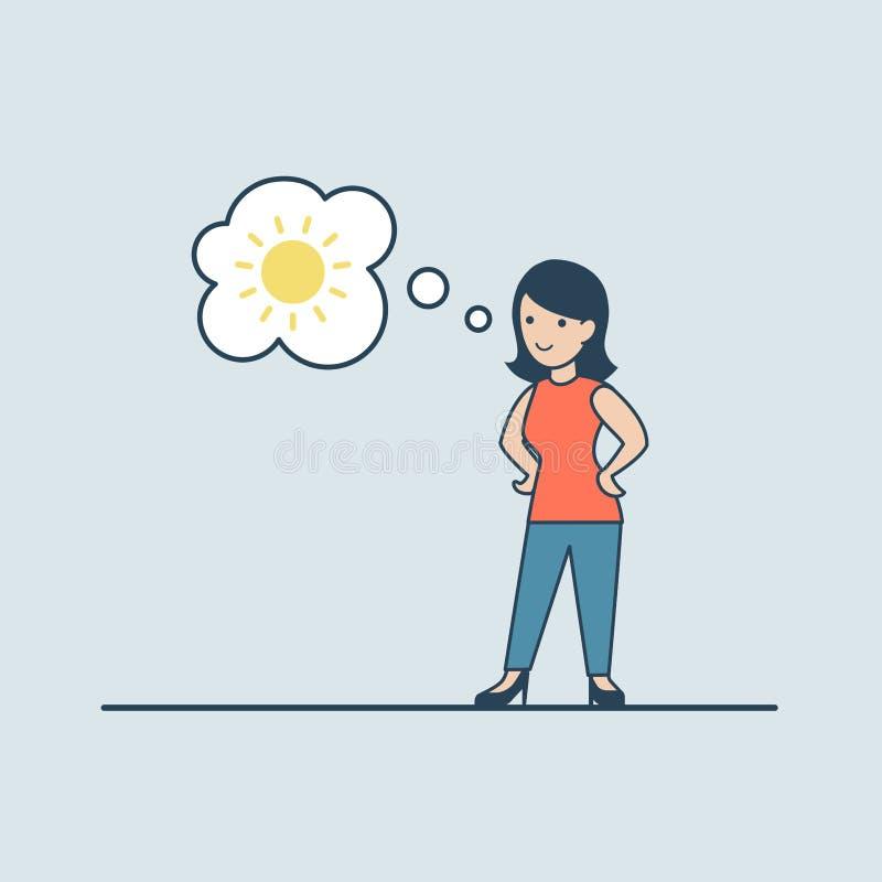 Mujer plana linear que mira el sol de pensamiento en bub de la charla stock de ilustración