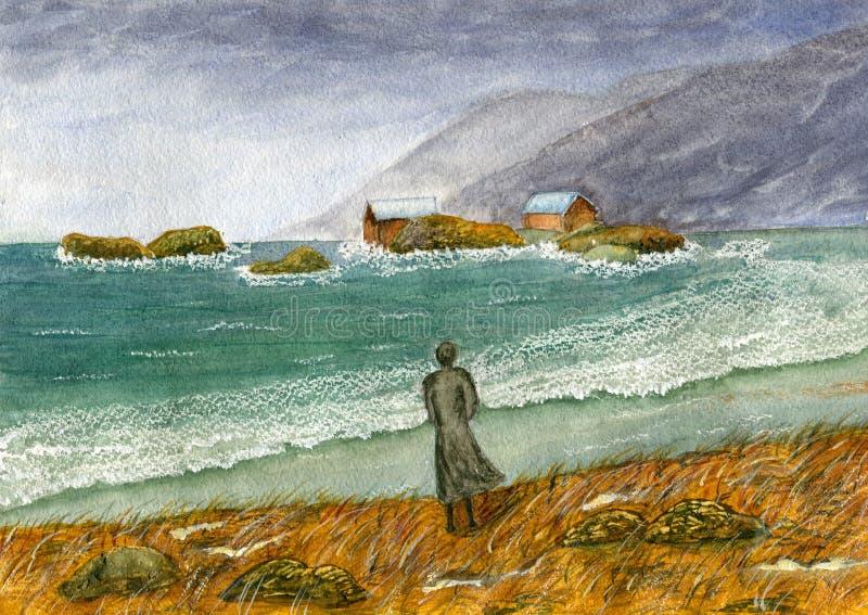 Mujer por el mar tempestuoso ilustración del vector