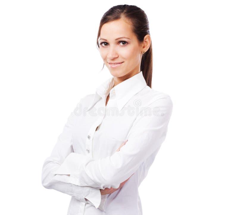 Mujer preciosa en la camisa blanca fotos de archivo