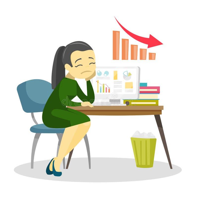Mujer preocupante del gráfico de negocio que va abajo libre illustration