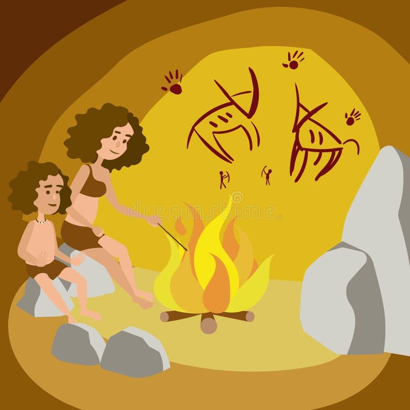 Mujer primitiva con el niño en vector de la historieta de la cueva ilustración del vector