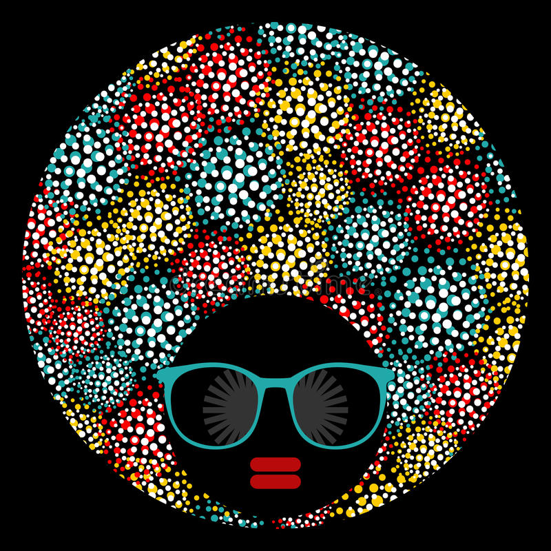 Mujer principal negra con corte de pelo extraño libre illustration