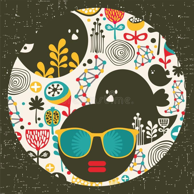 Mujer principal negra con el pelo extraño. libre illustration
