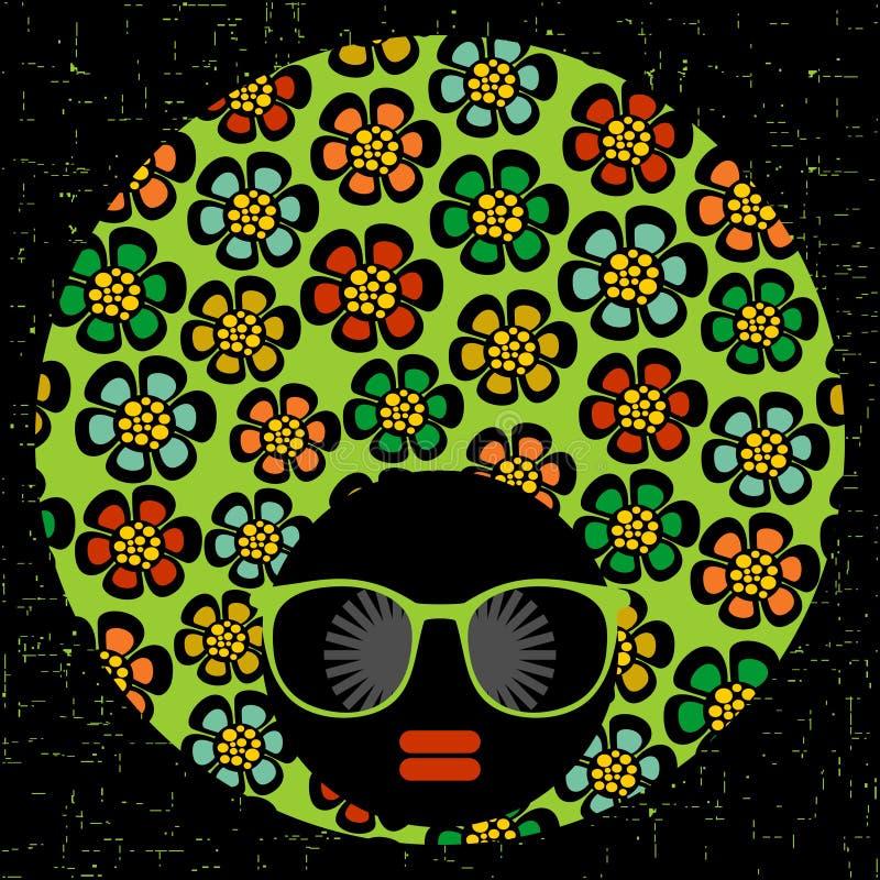 Mujer principal negra con el pelo extraño stock de ilustración