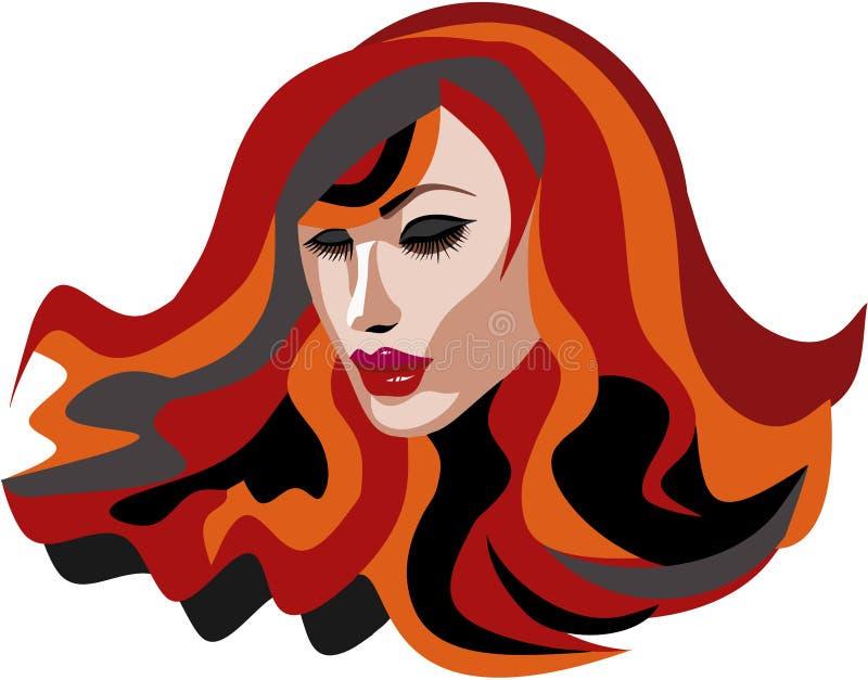 Mujer principal roja hermosa con los latigazos largos stock de ilustración