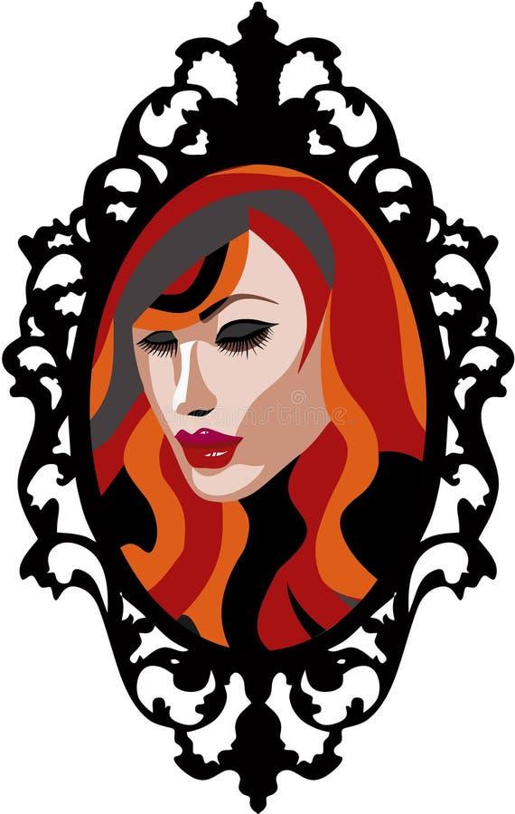 Mujer principal roja hermosa en la reflexión de Mirroe con el marco del vintage libre illustration