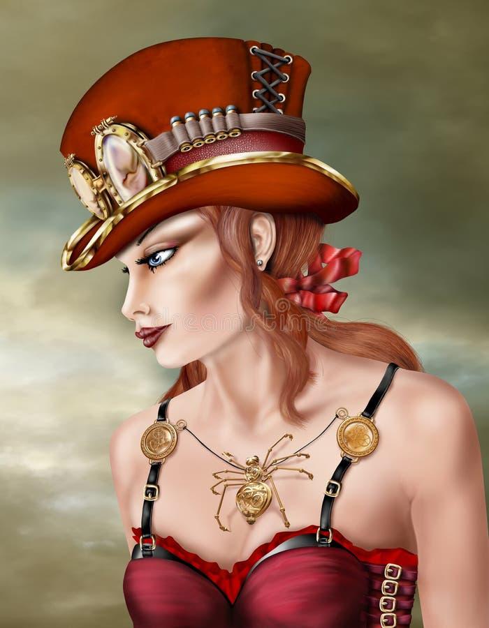 Mujer punky del vapor en rojo stock de ilustración
