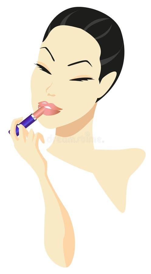 Mujer que aplica maquillaje ilustración del vector