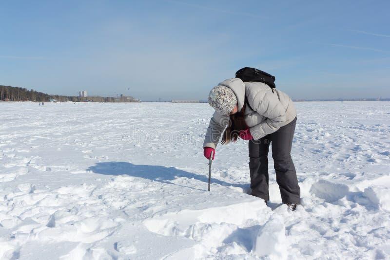 Mujer que asierra un bloque nevoso para construir un iglú foto de archivo