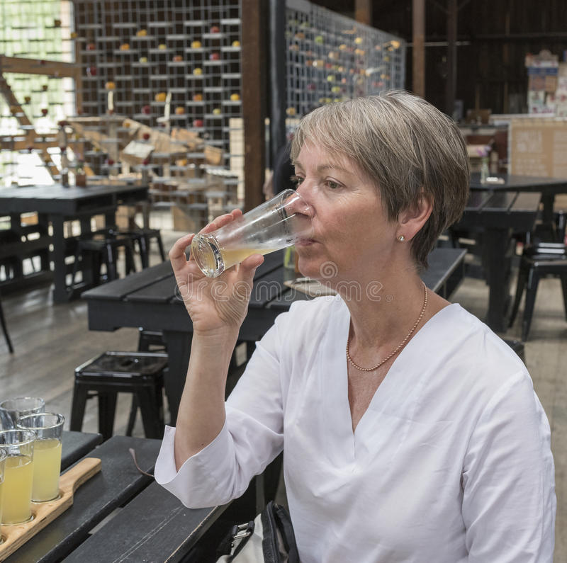 Mujer que bebe la sidra de Apple imágenes de archivo libres de regalías