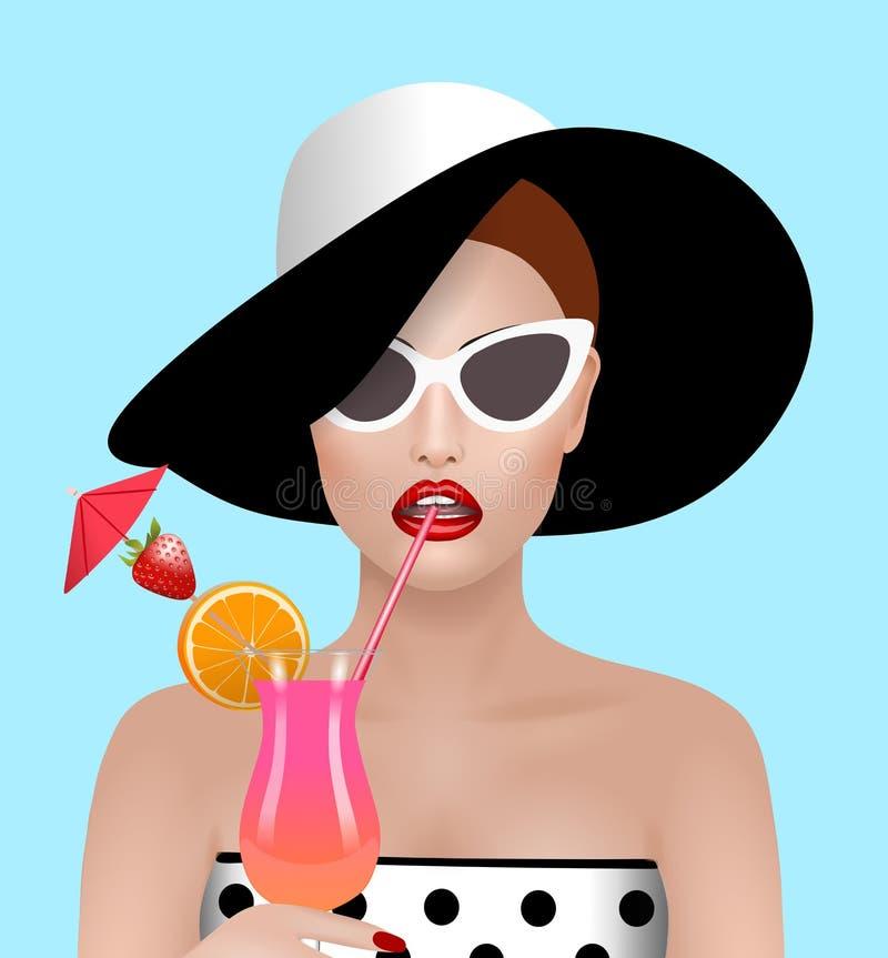 Mujer que bebe un ejemplo del cóctel ilustración del vector