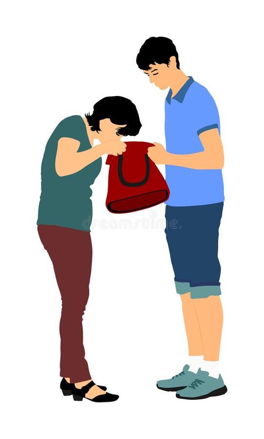 Mujer que busca una cartera, llaves en el bolso, ejemplo del vector Situaci?n agotadora en la calle, p?rdida de dinero Señora tur libre illustration