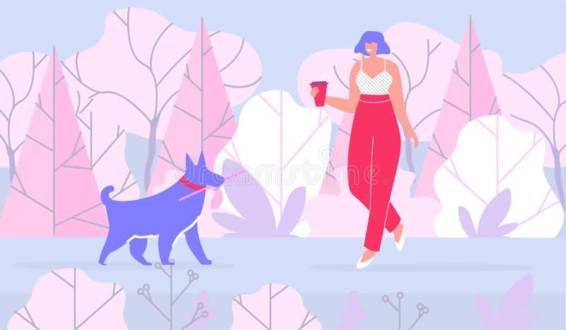 Mujer que camina con el perro en bosque plano de la historieta ilustración del vector