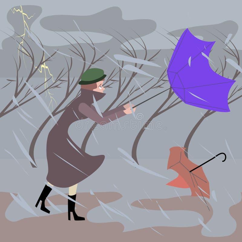 Mujer que camina en el clima tempestuoso ilustración del vector
