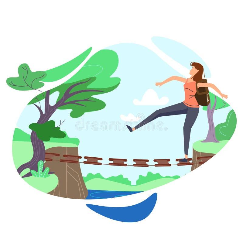 Mujer que camina en el escalonamiento de puente colgante ilustración del vector