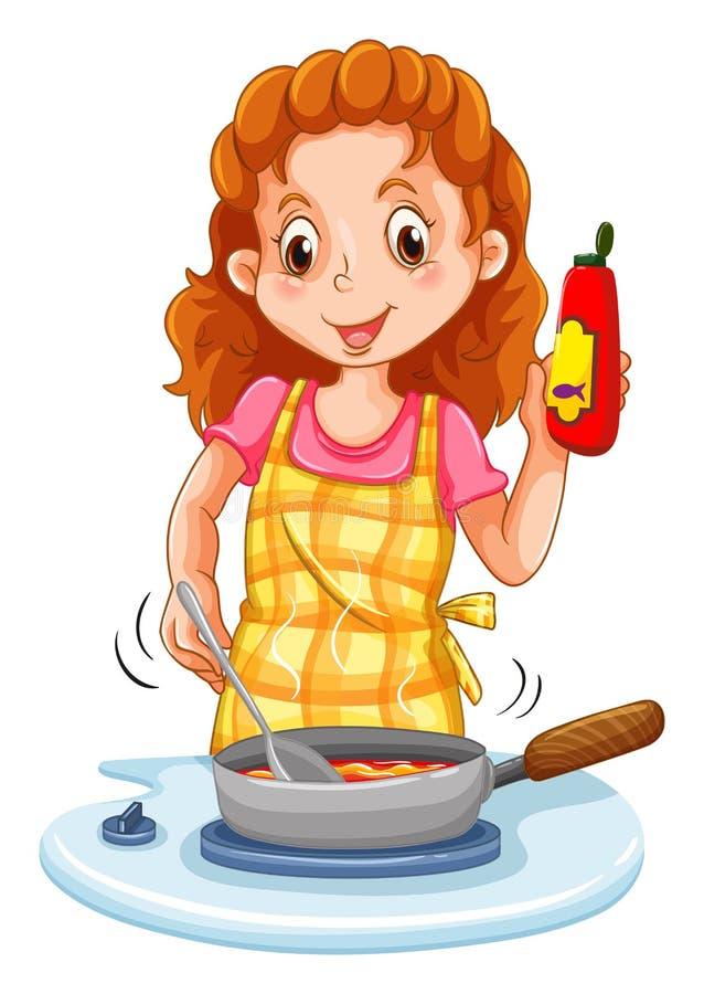 Mujer que cocina con una cacerola ilustración del vector