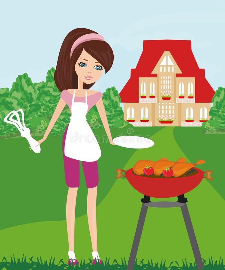 Mujer que cocina en una parrilla libre illustration