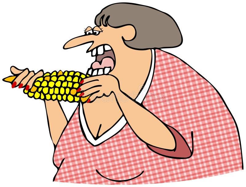 Mujer que come el maíz en la mazorca libre illustration