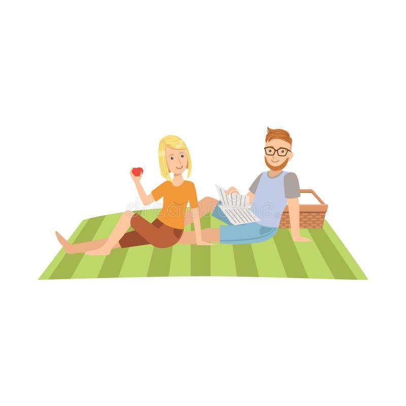 Mujer que come el periódico de la lectura de Apple y del hombre en comida campestre ilustración del vector
