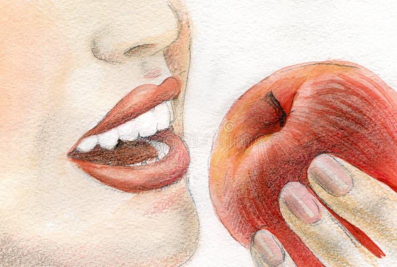 Mujer que come la manzana roja stock de ilustración