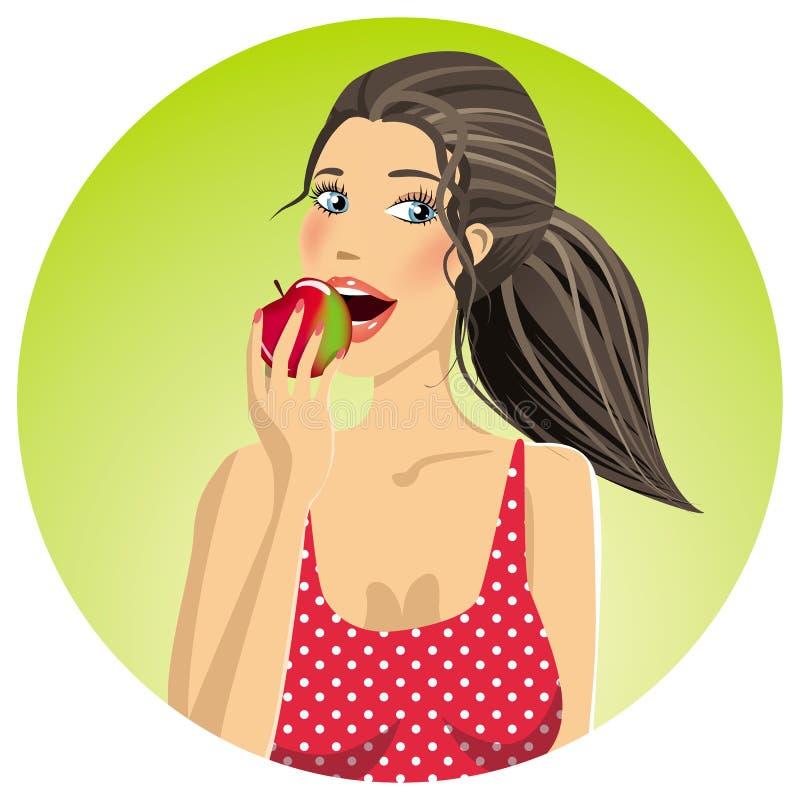 Mujer que come una manzana stock de ilustración