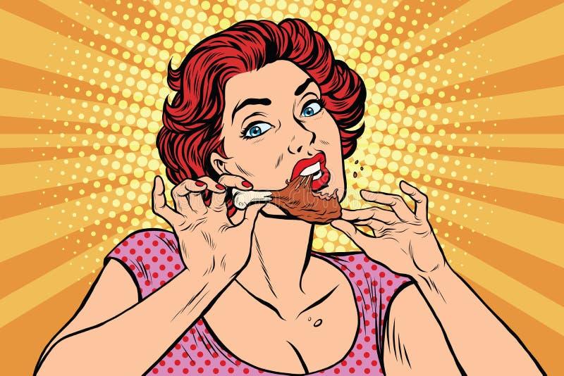 Mujer que come una pierna de pollo stock de ilustración