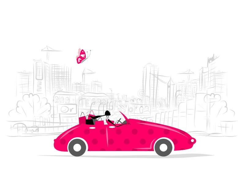 Mujer que conduce el coche para su diseño ilustración del vector