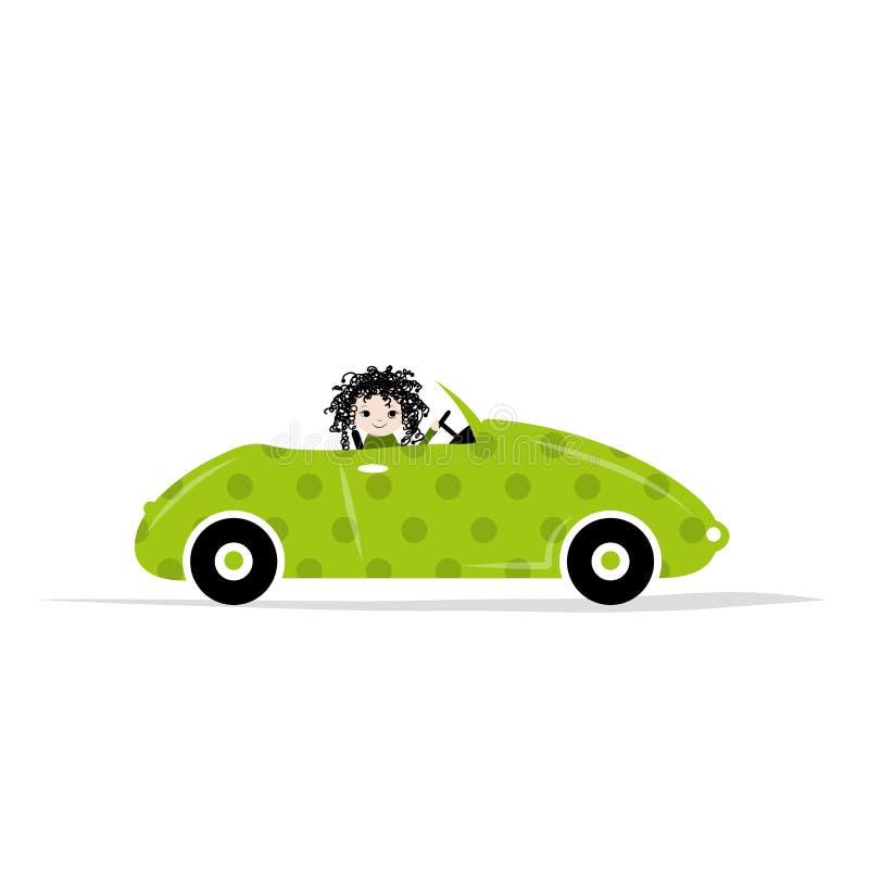 Mujer que conduce el coche para su diseño stock de ilustración