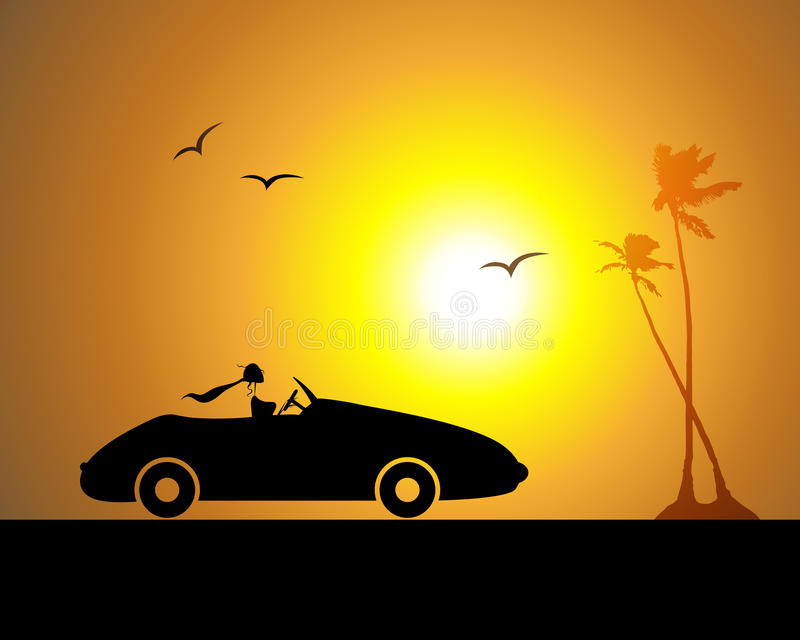 Mujer que conduce el coche, puesta del sol stock de ilustración