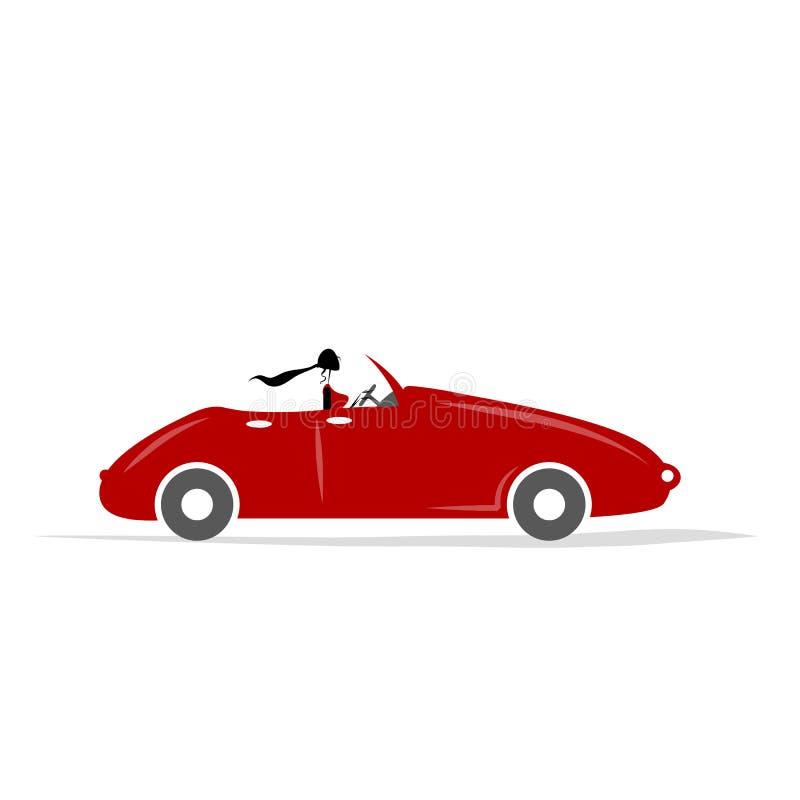 Mujer que conduce el coche rojo para su diseño stock de ilustración