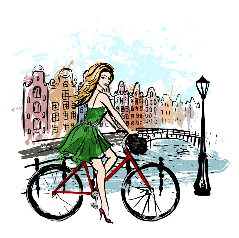 Mujer que conduce la bicicleta libre illustration