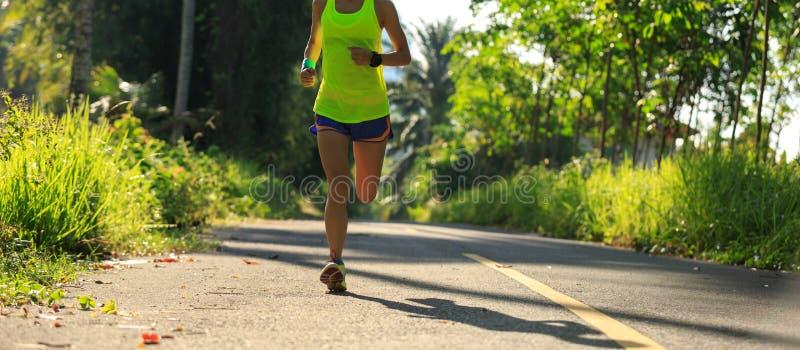 Mujer que corre en el rastro tropical del bosque fotos de archivo