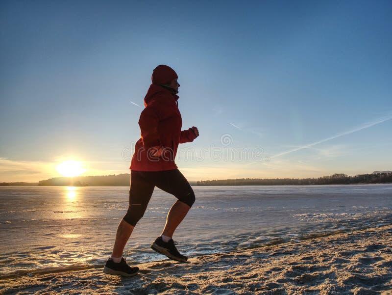 Mujer que corre a lo largo de orilla de un lago congelado en primavera del invierno imagen de archivo