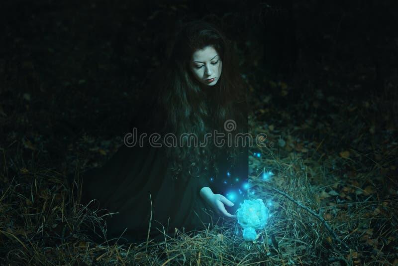 Mujer que cosecha la flor mágica en el bosque imagenes de archivo