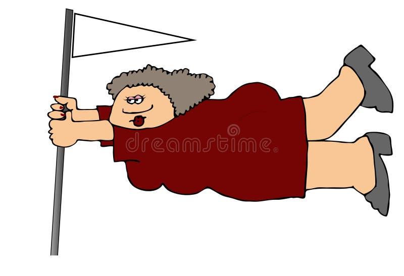 Mujer que cuelga encendido a una asta de bandera en fuerte viento ilustración del vector