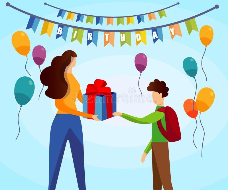 Mujer que da la caja de regalo envuelta al pequeño escolar ilustración del vector
