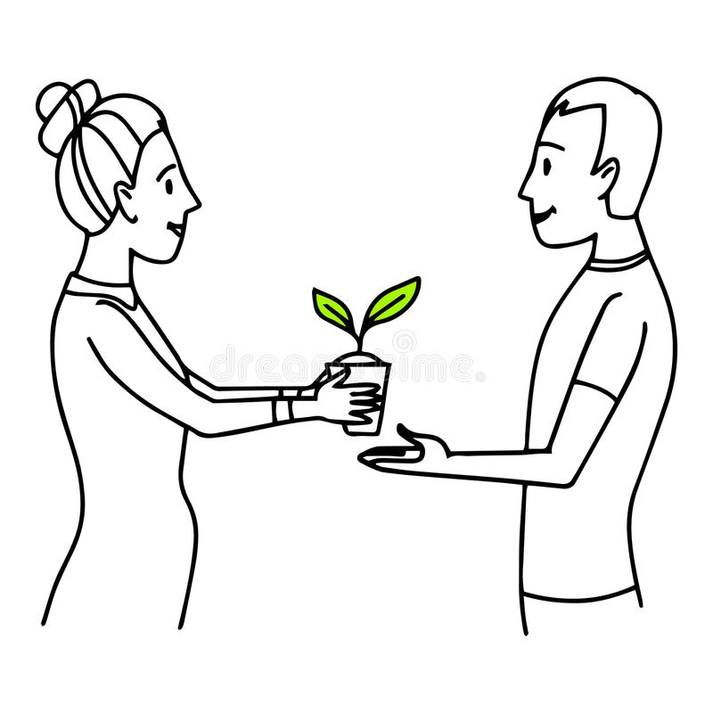 Mujer que da un pote con la planta a un hombre Ejemplo de la situación de la forma de vida Bosquejo aislado vector del esquema libre illustration