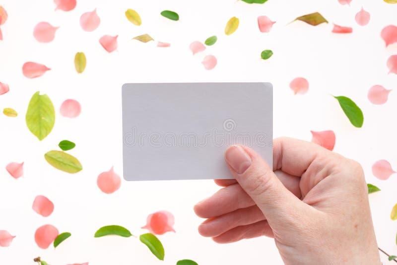 Mujer que detiene mofa blanca en blanco de la tarjeta de visita foto de archivo