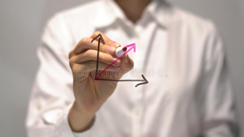Mujer que dibuja el diagrama sustancial del crecimiento con rojo encima de la flecha en la pantalla transparente fotos de archivo libres de regalías