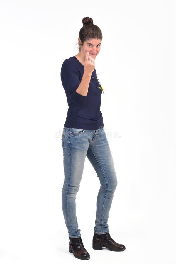 Mujer que dice con su finger venir imagen de archivo libre de regalías