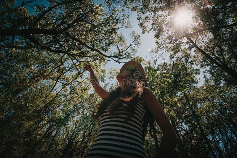 Mujer que disfruta de la naturaleza en el bosque australiano fotografía de archivo