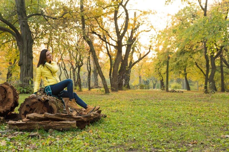 Mujer que disfruta del oto?o en el bosque fotos de archivo