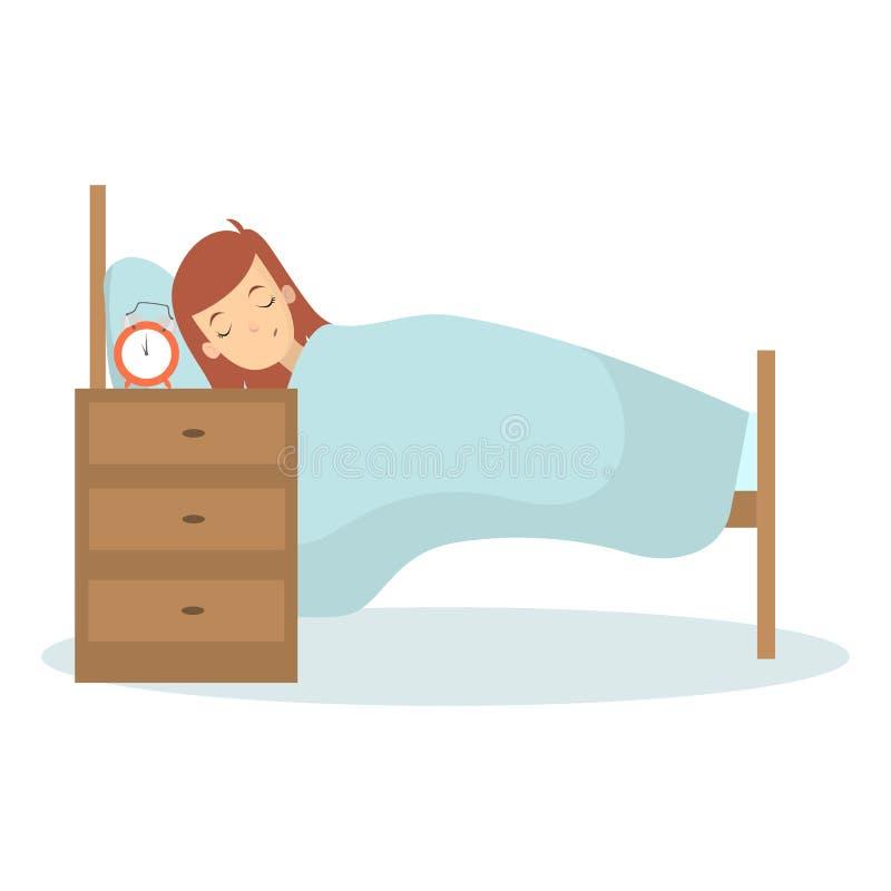 Mujer que duerme en cama stock de ilustración